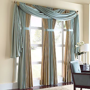 "Interesting treatment for drapery panels  Cindy Crawford Style® Marla 110"" Drapery Panel - jcpenney"