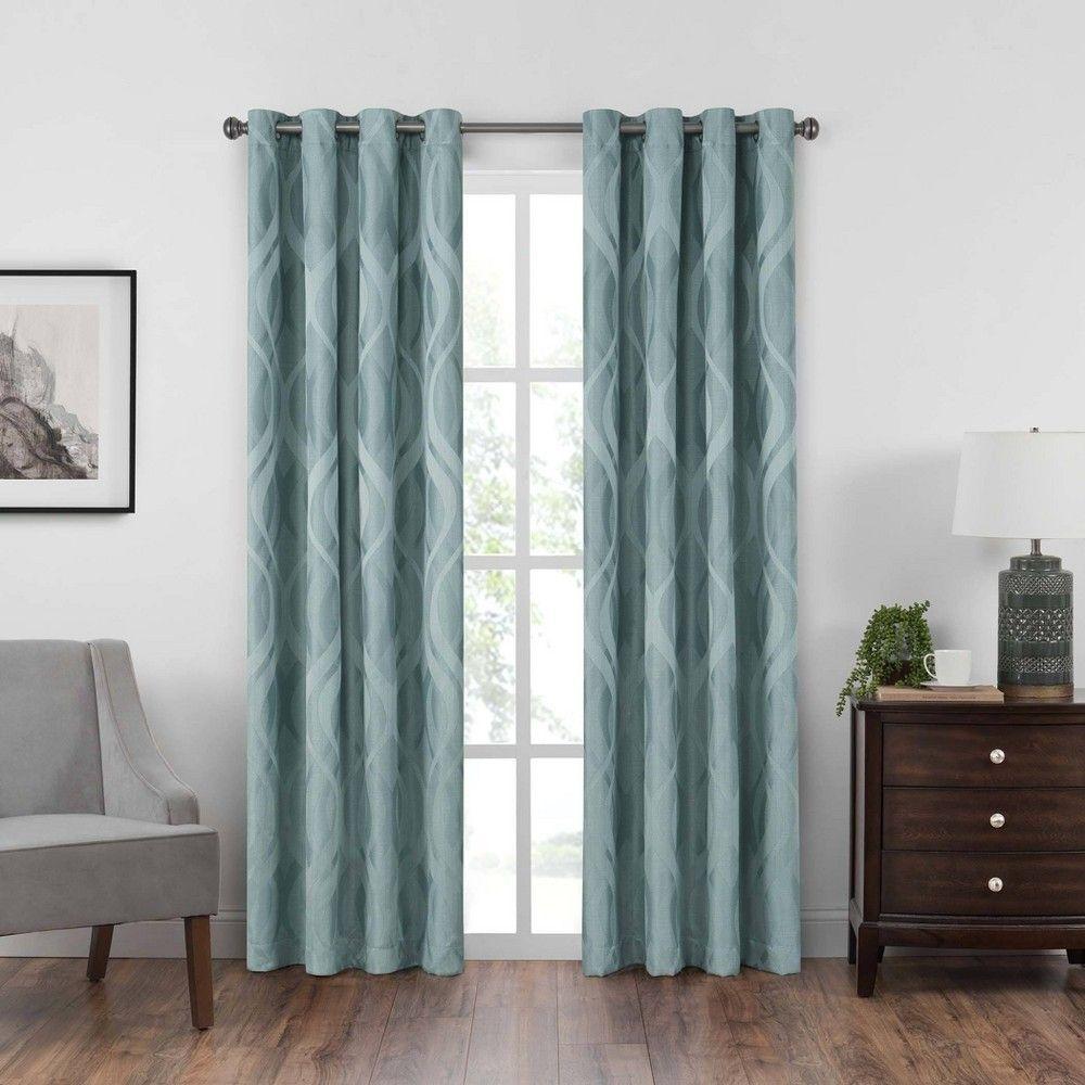 84 X52 Caprese Grommet Top Blackout Curtain Panels Blue Eclipse In 2020 Curtains Panel Curtains Grommet Curtains