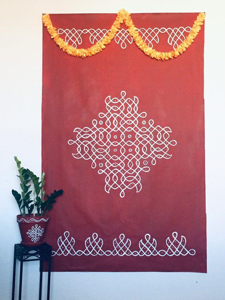 Indian Floor Art Rangoli Art Kolam Mandala Wall Art Hindu Etsy Mandala Wall Art Floor Art Rangoli Painting