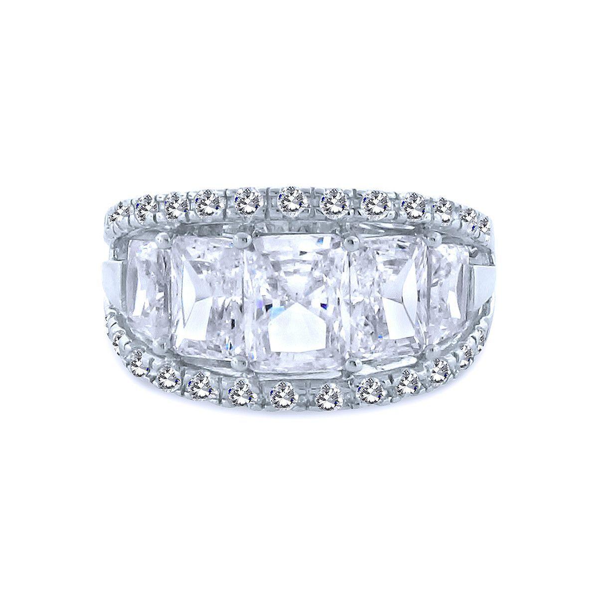 5 Emerald Cut Chandi Diamond Ring w/ Chandi Diamond Border ...