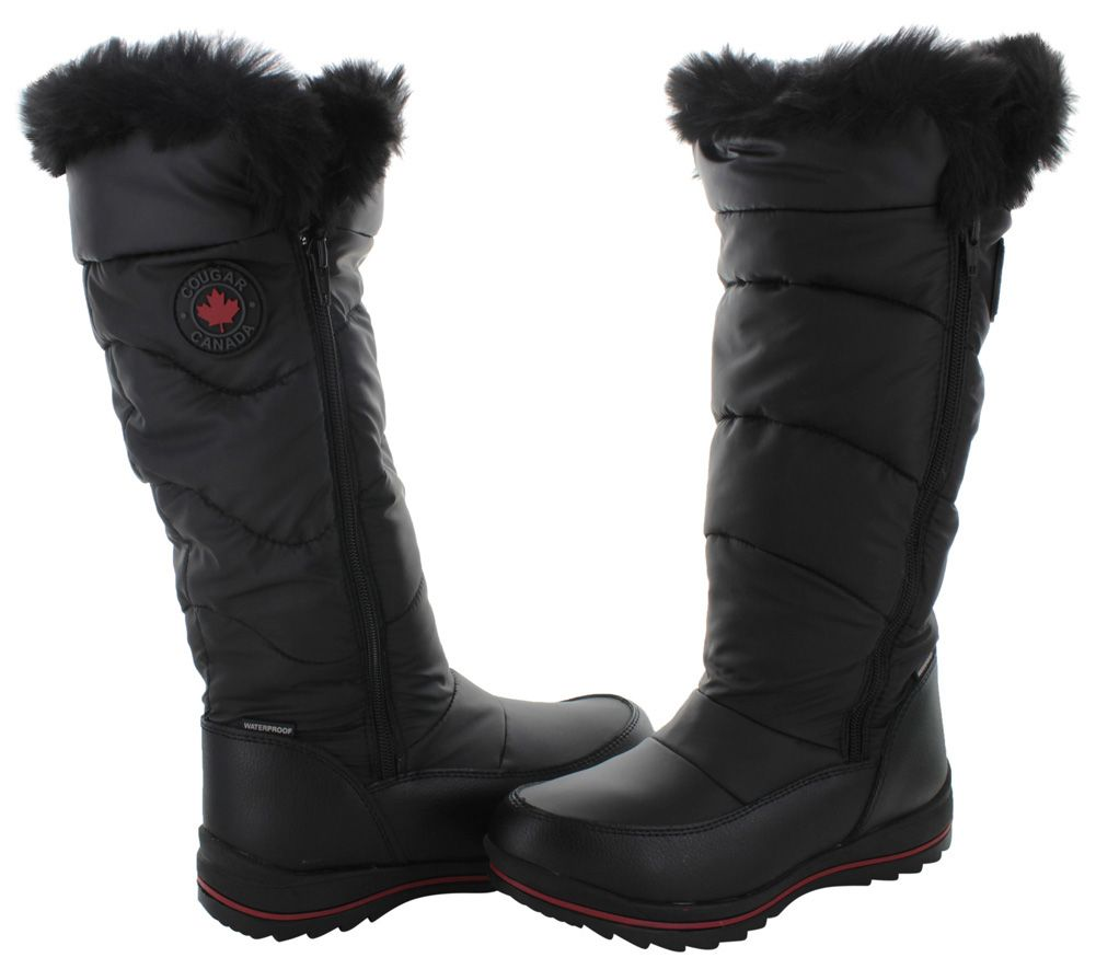 edc5965a73a4e Details about Cougar Canuck Black Tall Nylon Waterproof Snow Winter ...