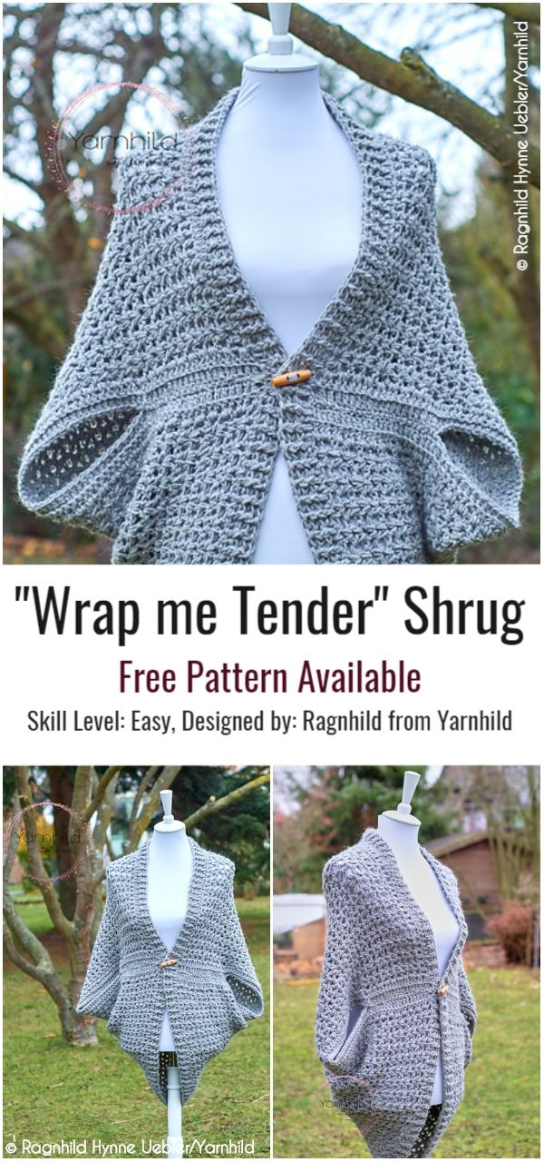 Easy Cocoon Shrug Ideas with Free Crochet Patterns #crochetshrug #crochet #crochetideas #crochetscarves