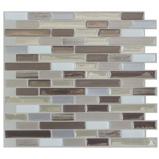 "<strong>Smart Tiles</strong> Muretto Durango 10.25"" x 9.13"" Peel & Stick Mosaic Tile in Beige & Gray"