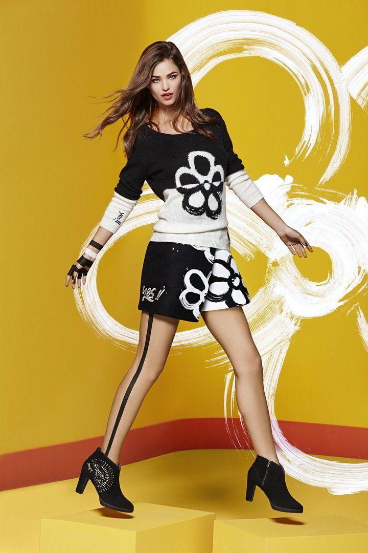 Desigual Zwart-witte gebreide trui. Ontdek ons tricot met Wow-effect!