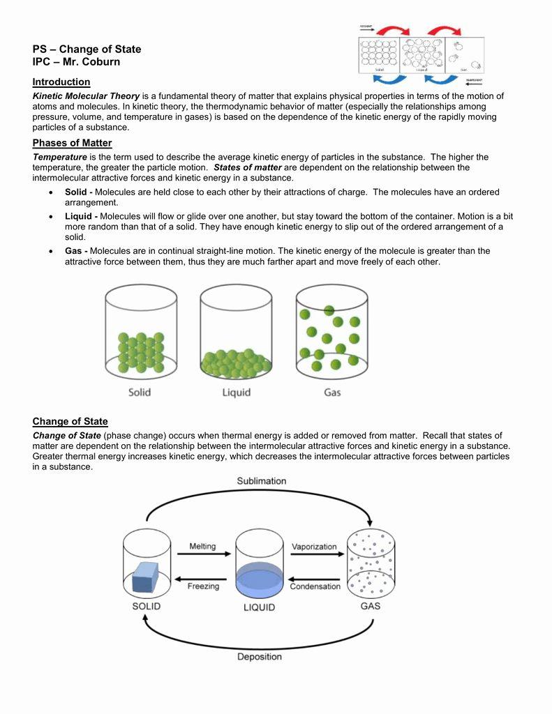 Molecular theory Worksheet Inspirational Phase