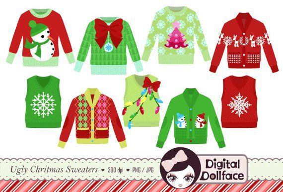 Ugly christmas sweater contest. Clipart tacky holiday party