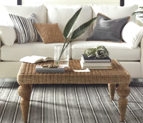 Banana Leaf Rattan Coffee Table For Coastal Tropical Style Decorating Featured On Completely