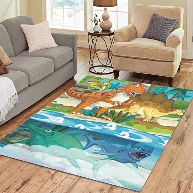 Amazon Com Modern Home Decor Floor Carpet Dinosaur Living Bedroom Area Rug 7 X5 Rectangle Blue Gogogosky Bedroom Area Rug Area Rugs Decor