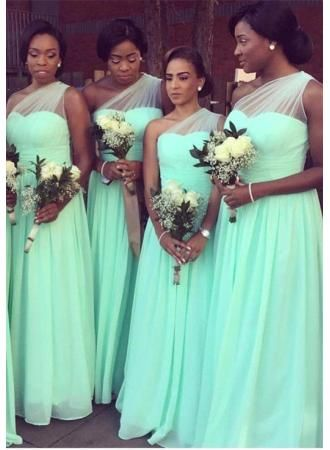 0ba8188ce87 USD 99.00 - Elegant One Shoulder Long Bridesmaid Dress 2016 Chiffon Mint Floor  Length - www.27dress.com