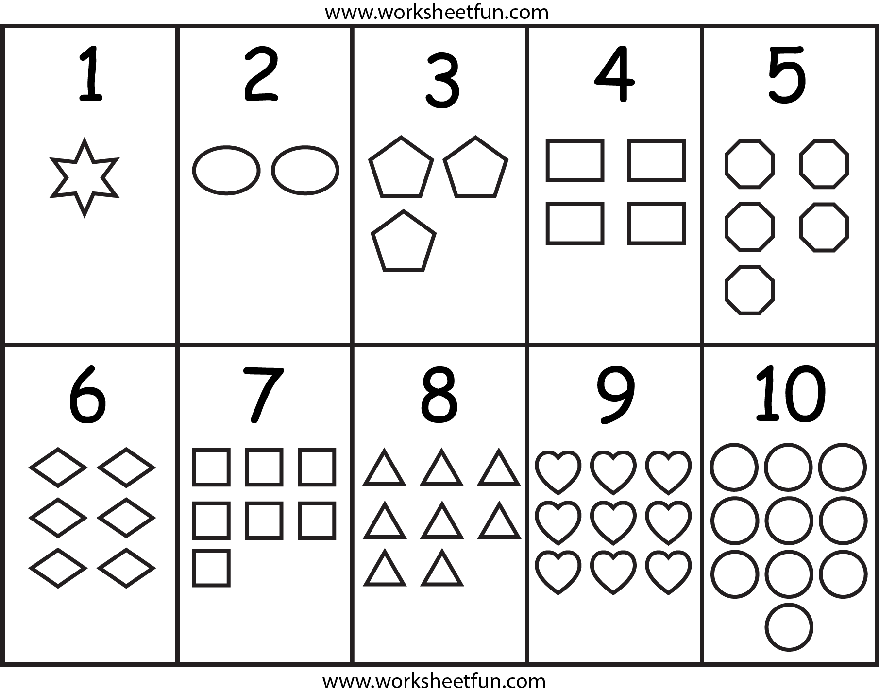 Numbers & Shapes Worksheet Kindergarten worksheets free