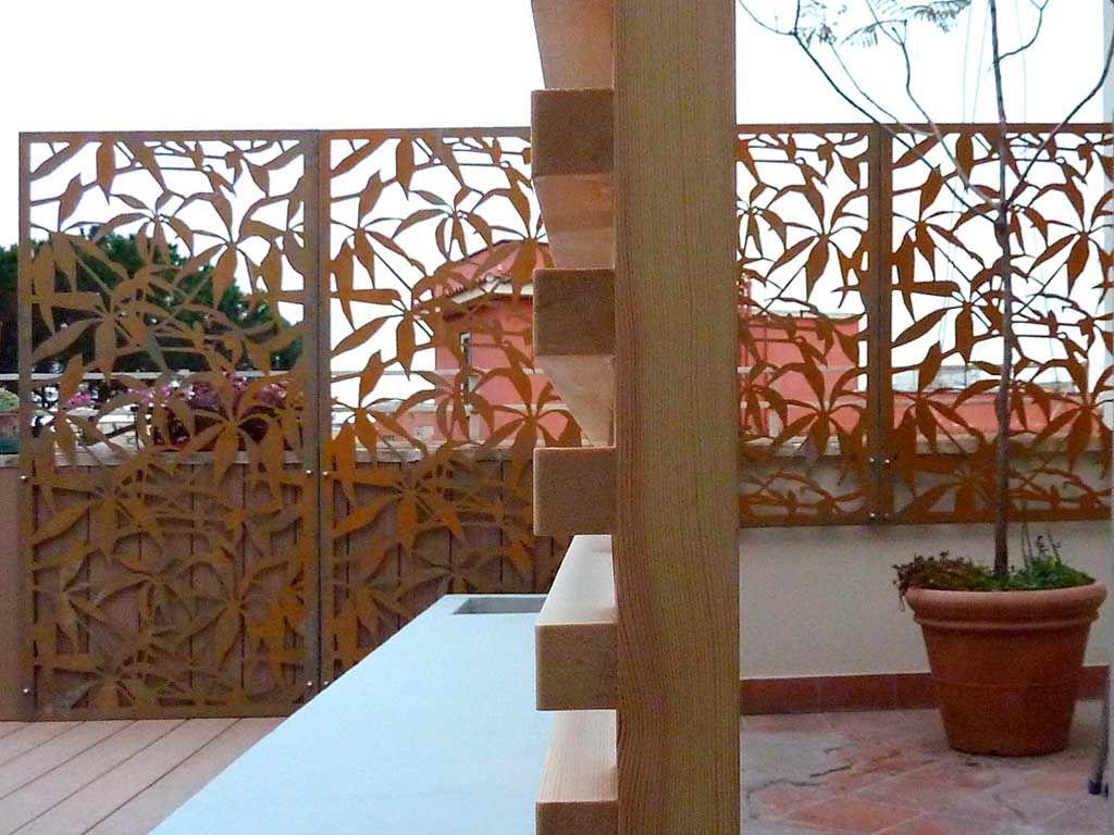 grigliati terrazzo outdoor screen corten logicalspace