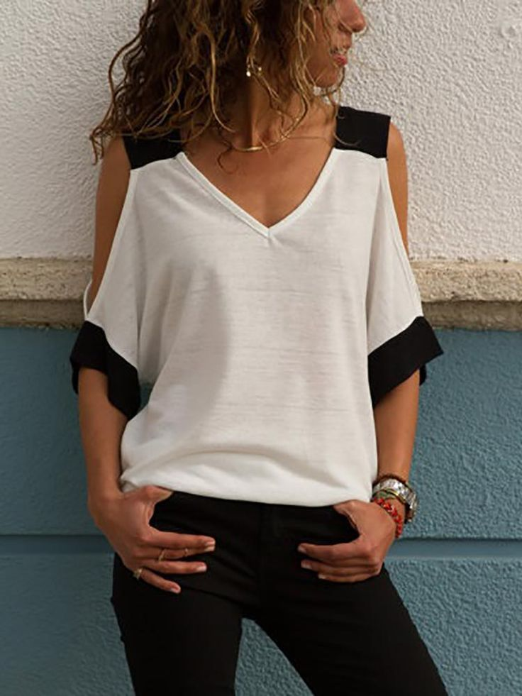 Contrast Color V Neck Cold Shoulder T-Shirt - #cold #color #Contrast #Neck #shoulder #TShirt #fashiontag