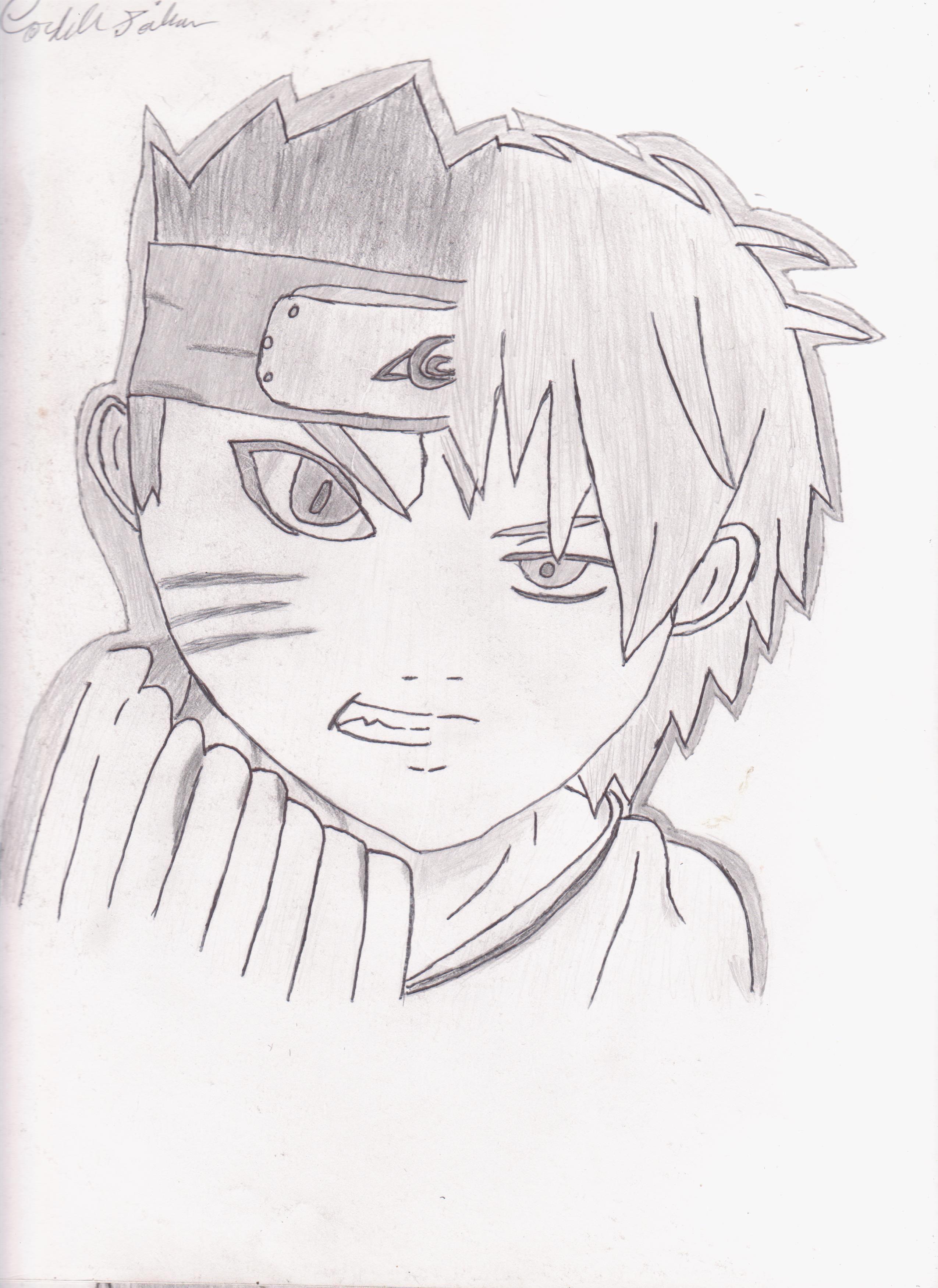 Kuroko No Baket And Naruto Half Face Drawing By Cordell Soileau