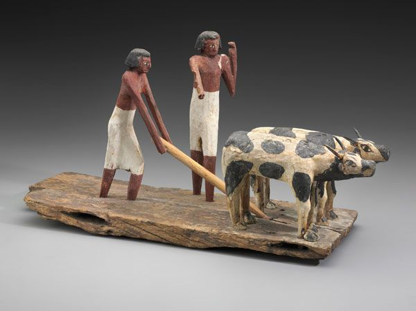 Model Scene Of Workers Ploughing A Field Egyptian Middle