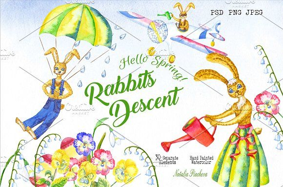 Welcome Spring! Rabbits Descent by Nataliapiache on @creativemarket
