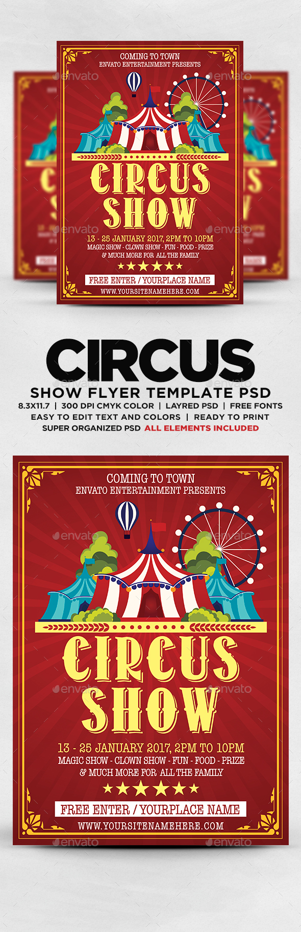 Circus Show Flyer Template Psd Flyer Templates Pinterest Flyer