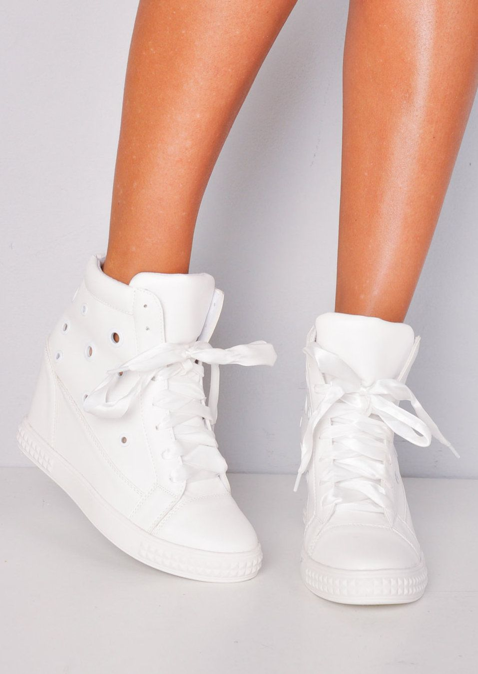 High Top Ribbon Lace Up Wedge Heel