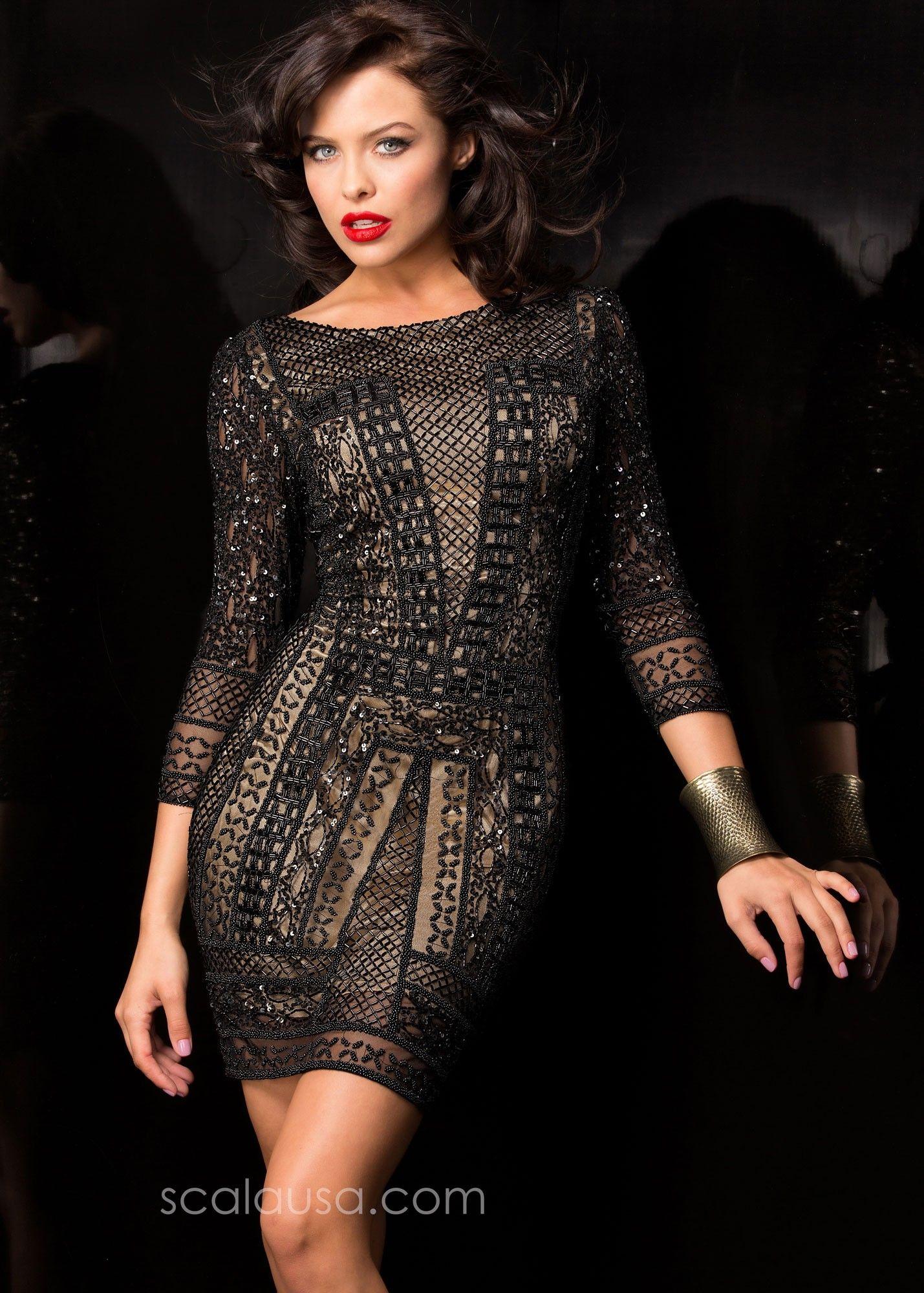 e631baa7ac5 Scala 48377ML Short & Sexy Beaded Cocktail Dress | Homecoming 2015 ...