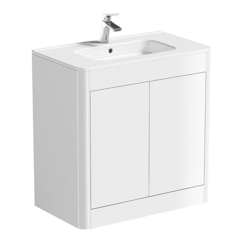 Mode Carter White Floorstanding Vanity Unit And Ceramic Basin 800mm Bathroom Vanity Units Basin Vanity Unit Vanity Units
