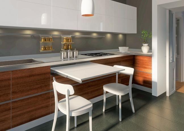Mesa cocina oculta organiza pinterest cocina oculta mesas y cocinas - Mesa pared cocina ...