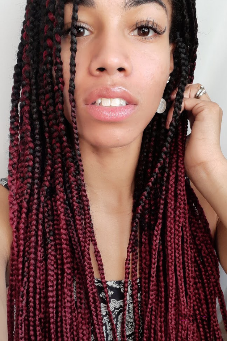 Red Ombre Box Braids Protective Style For Natural Hair Ombre Box Braids Braided Hairstyles Box Braids Hairstyles