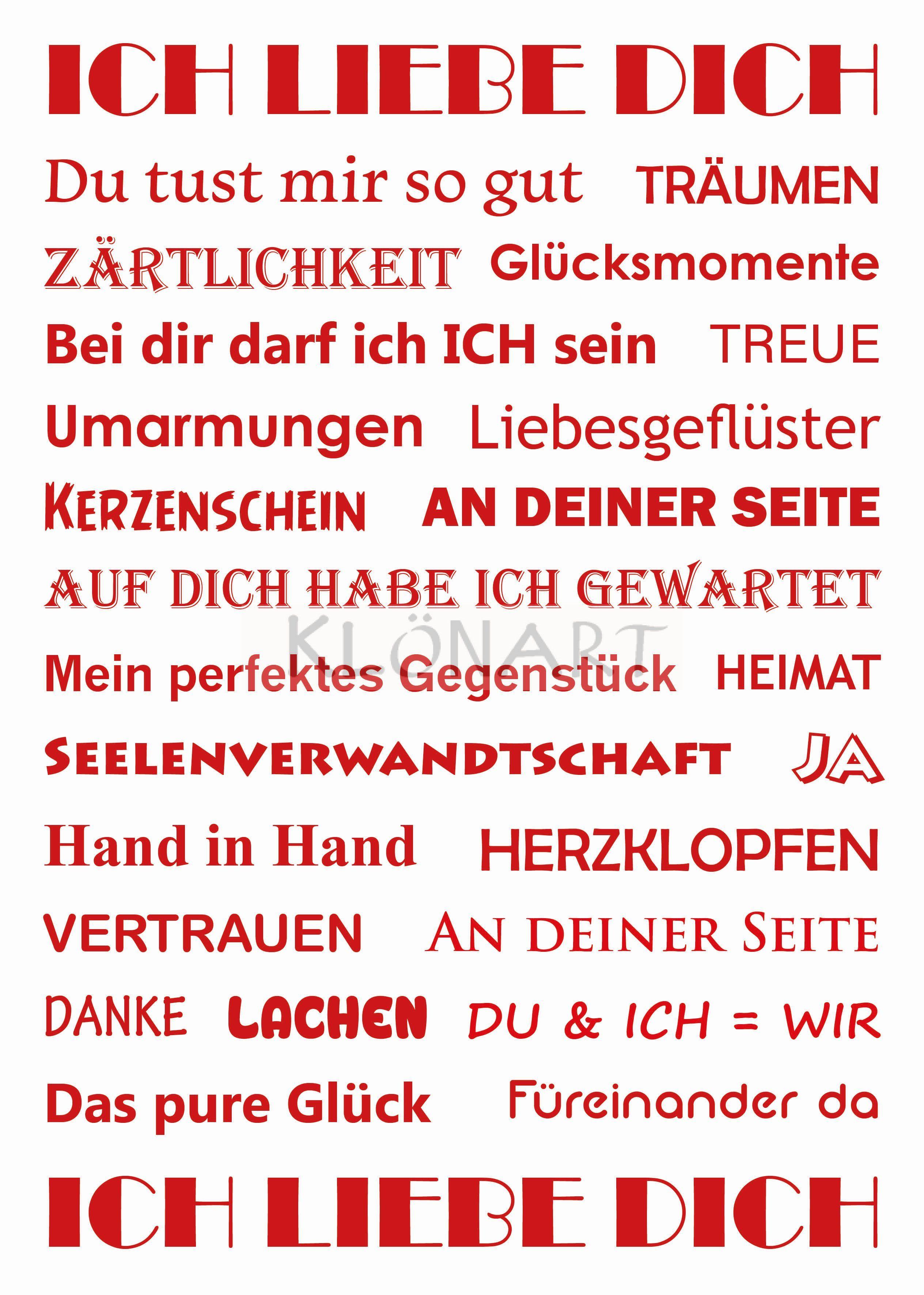 KLÖNART - Kartenkunst und mehr  Postkarte  Buchstaben + Worte  ICH LIEBE DICH  kontakt@kloenart.de www.facebook.com/kloenart