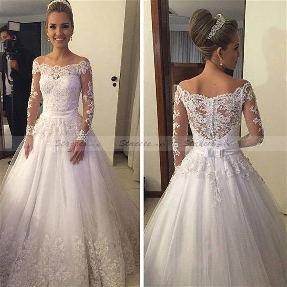 Tulle court train ball gown fulllong sleeve offtheshoulder