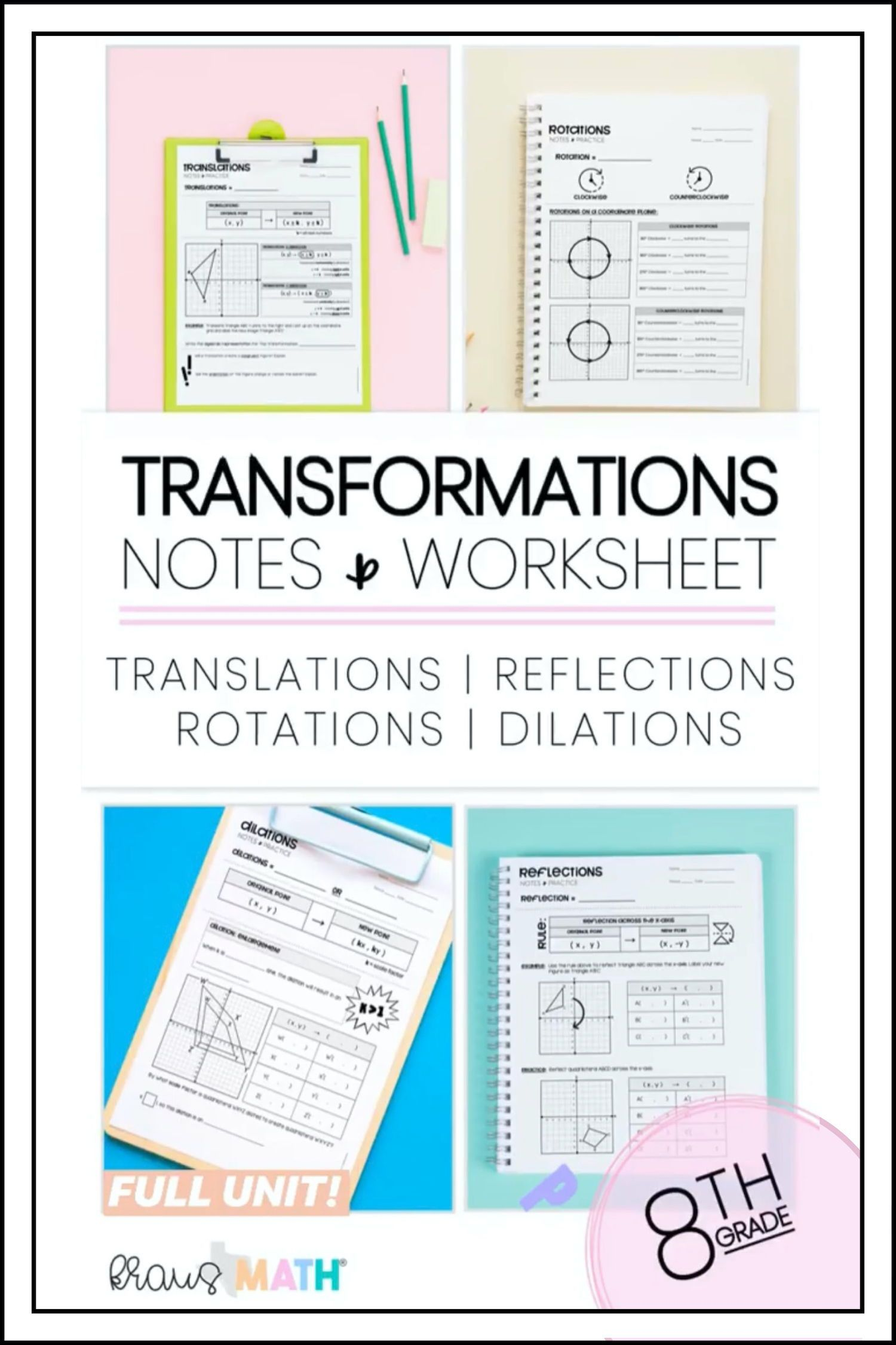 Transformations Notes Practice Worksheets Kraus Math Math Facts 8th Grade Math Middle School Math