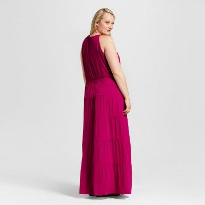 Women's Plus Size Embroidered High Neck Maxi Dress Red 1X - Spenser Jeremy
