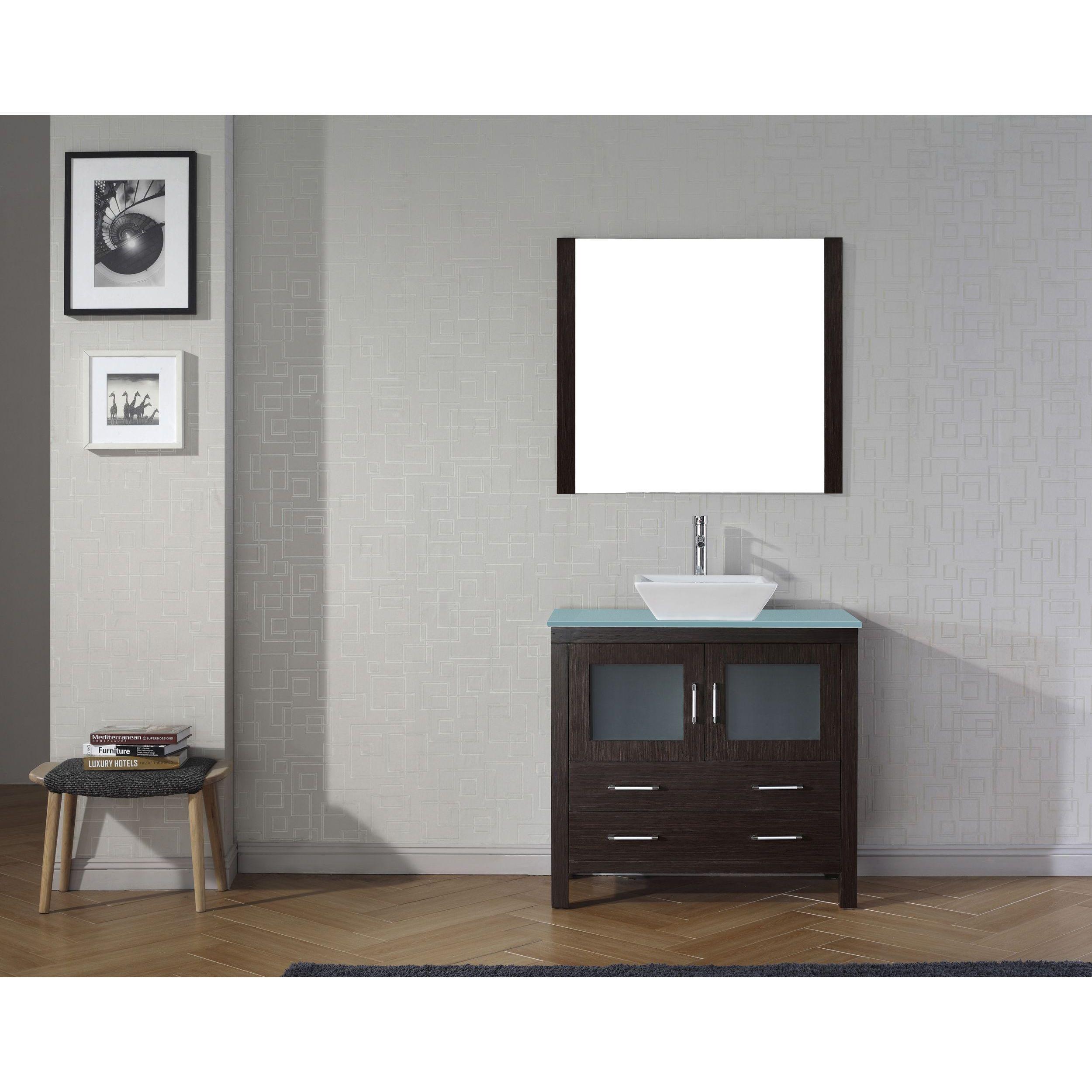 Virtu USA Dior inch Glass Top Double Bathroom Vanity Set with