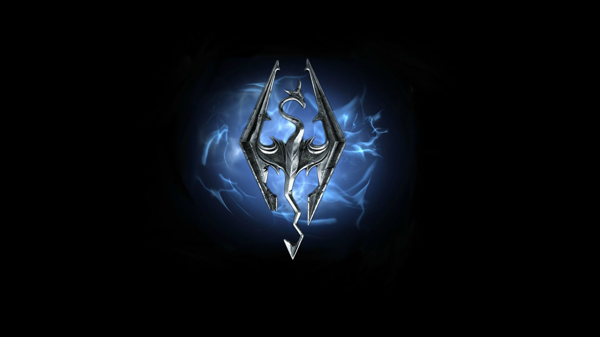 Skyrim Blue Fire Dragon Game Logo HD Wallpaper