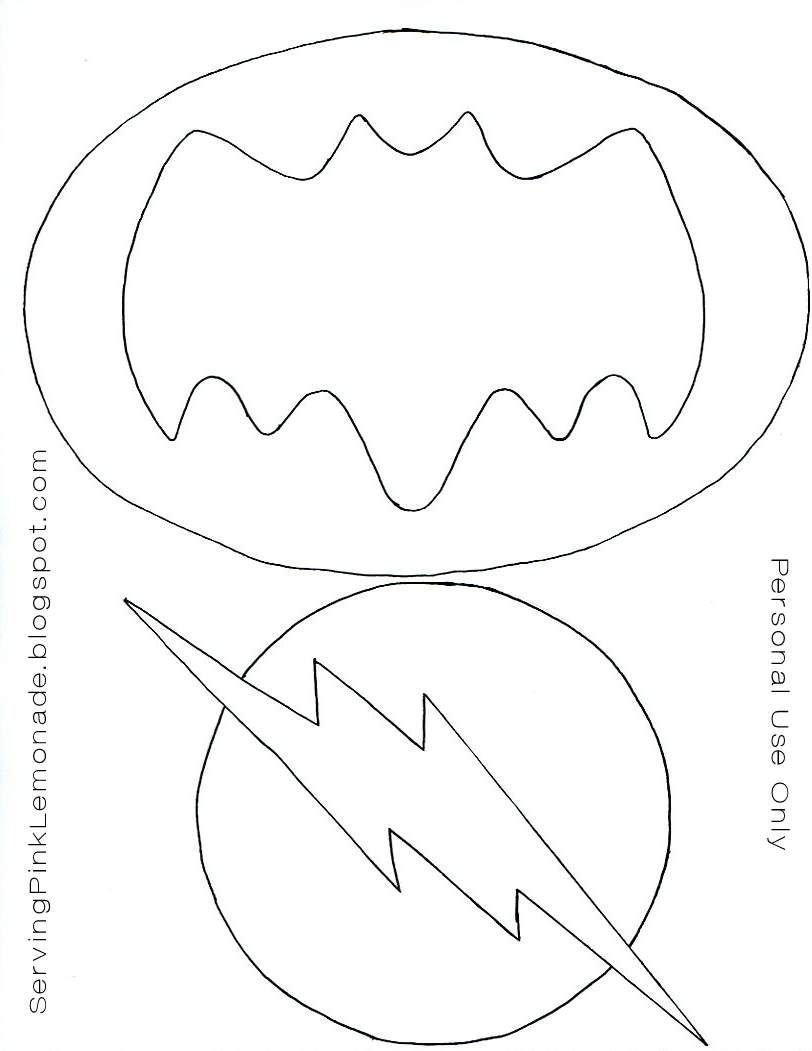 Templates for the super hero masks, batman and flash logos