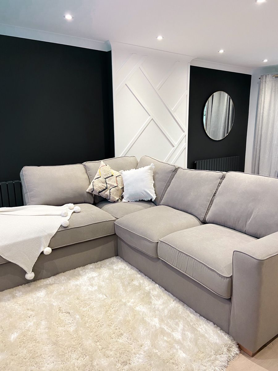 Chaise Sofa With Black Walls In 2020 Luxury Interior Design Home Interior Design Bathroom Interior Design