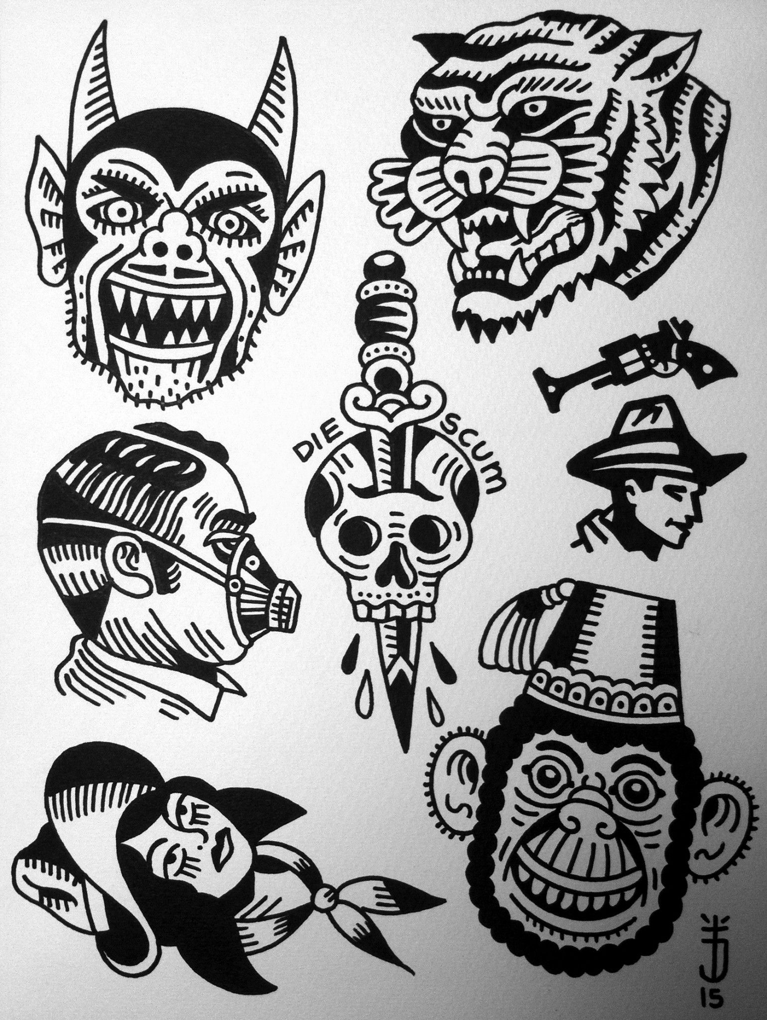 tattoojoris flash devil monkey tiger dagger tattoo. Black Bedroom Furniture Sets. Home Design Ideas