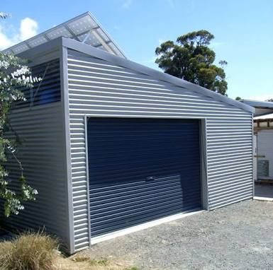 Garage with skillion roof like profile but not materials for Building a detached garage on a slope
