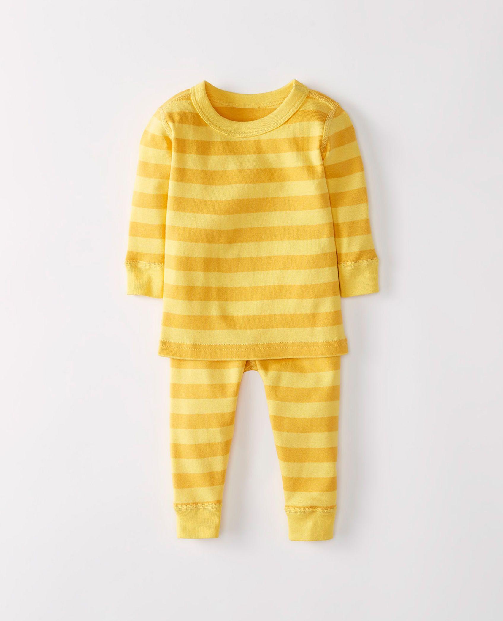 Long John Pajamas In Organic Cotton in Swedish Yellow Turning Leaf