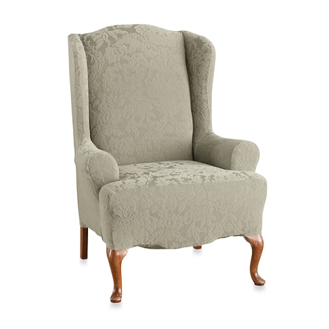 Sure Fit Stretch Jacquard Damask Wing Chair Slipcover In Raisin Slipcovers For Chairs Slipcovers Wing Chair