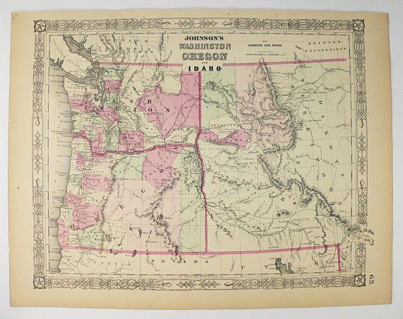 idaho and washington map 1864 Washington Map Oregon Idaho Map 1864 Johnson Map Of idaho and washington map