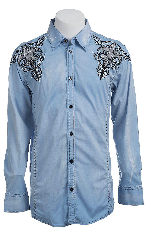 Roar® Men's Light Blue Sacred Embroidered Long Sleeve Western Shirt