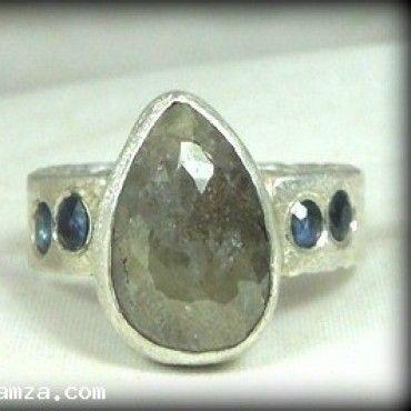 4.67 carat rose cut diamond and sapphire ring