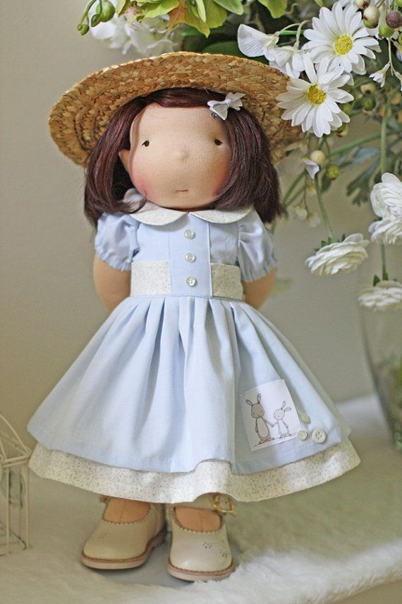 """Vintage French Bunny Dress and Hat for 17"""" - 19"""" dolls"""