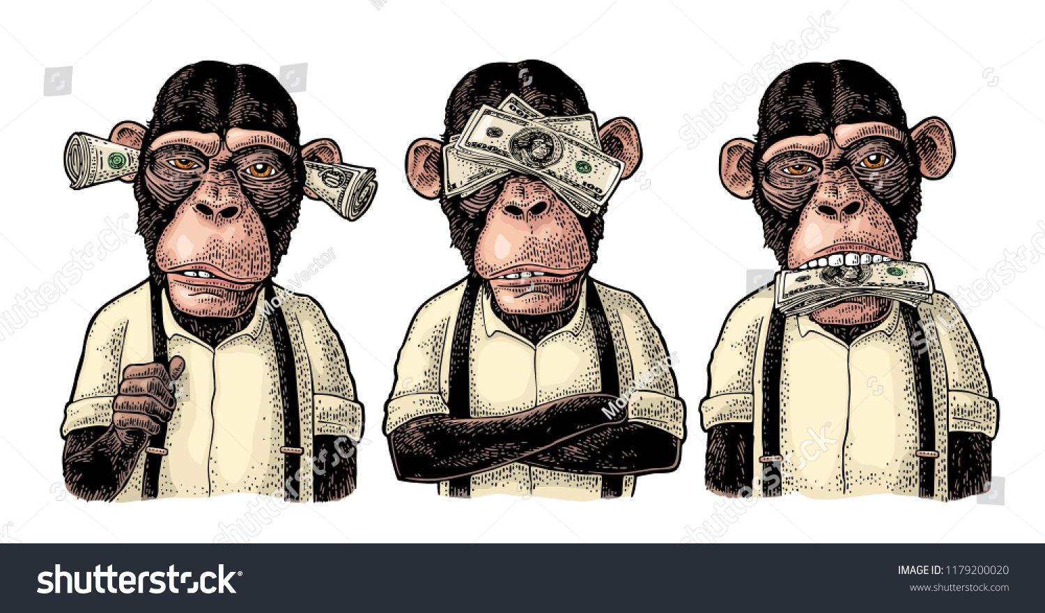 Three Wise Monkeys With Money On Ears Eyes Mouth Not See Not Hear Not Speak Vintage Color Engraving Illust Three Wise Monkeys Wise Monkeys Monkey Tattoos