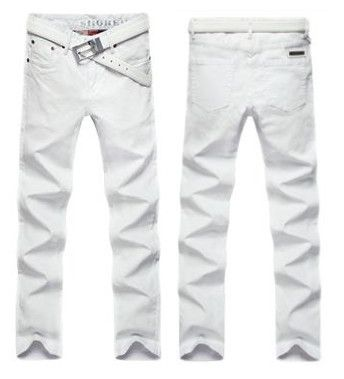 White-Skinny-Men-Jeans-Korean-Solid-Denim-Pants-Straight-Washed ...