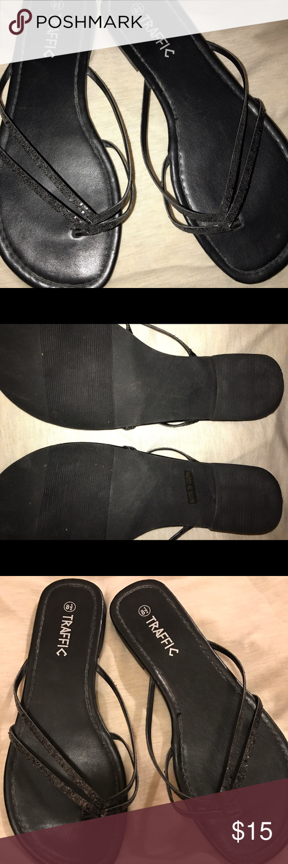 Black sparkle traffic sandals Like new black sparkle sandals. Only wore once. Size 8 1/2 Shoes Sandals
