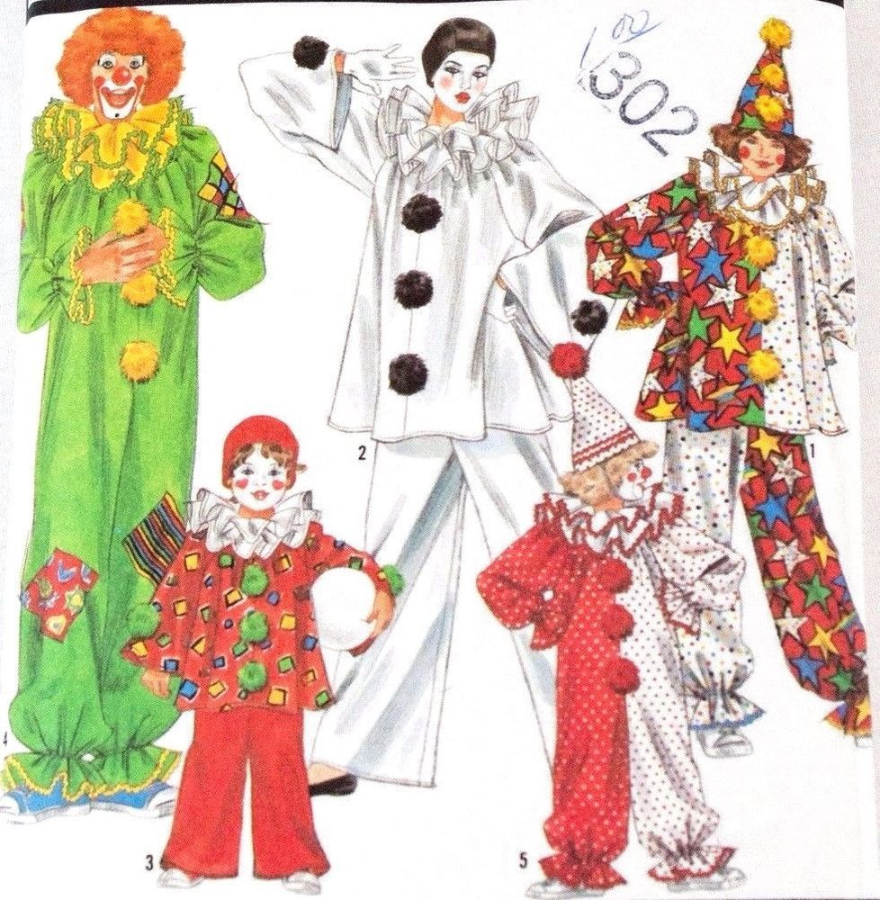 Simplicity 9806 Clown Costume Pattern Pennywise Sz S - LG Chest 32 ...