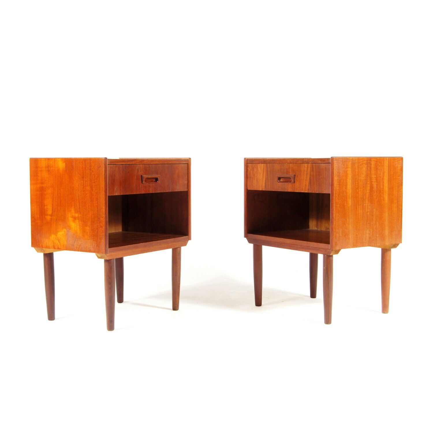 Pair Retro Vintage Danish Design Teak Bedside Tables Cabinets