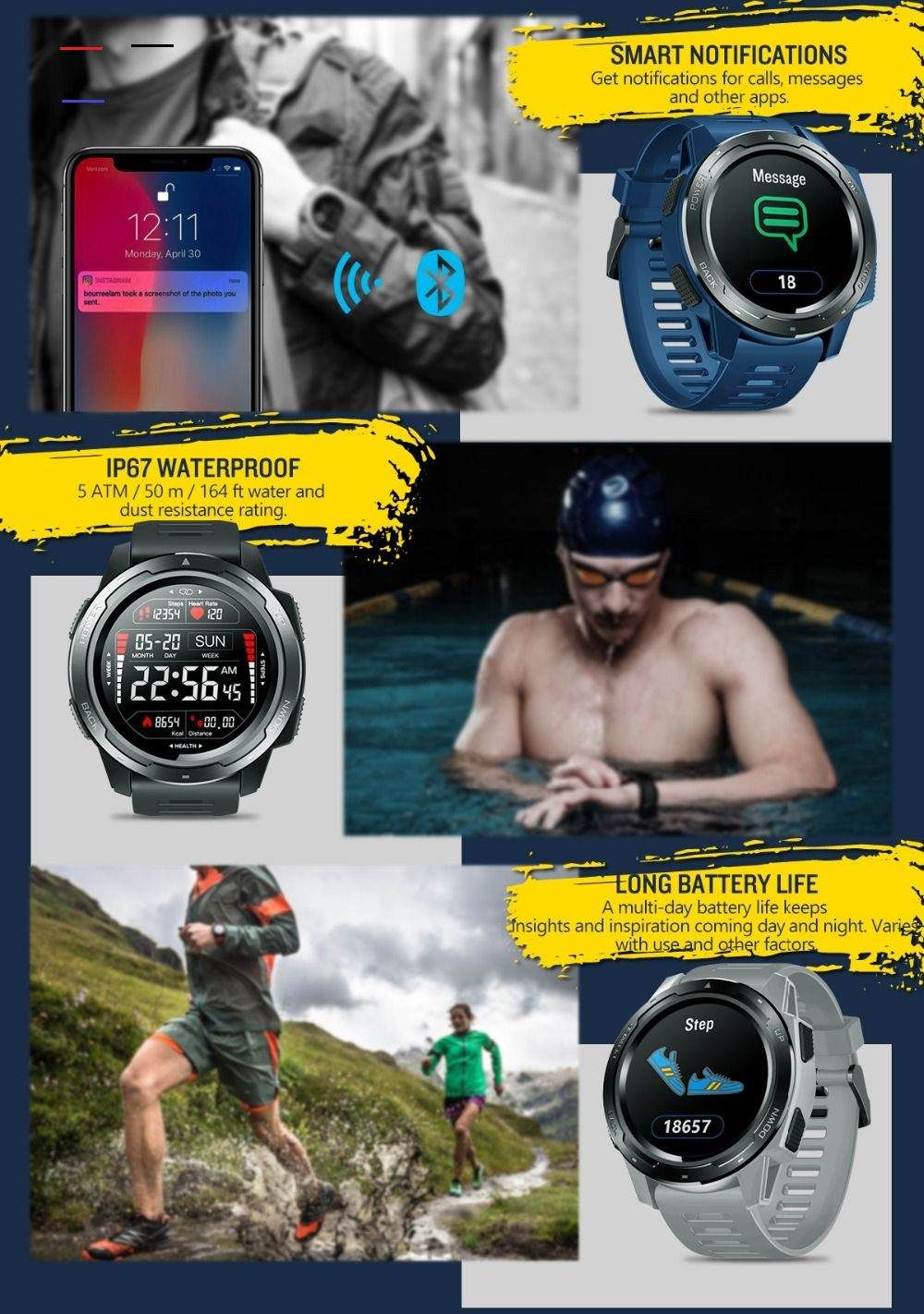 New Zeblaze Vibe 5 Ip67 Waterproof Heart Rate Long Battery Life Color Display Screen Multi Sports Modes Smart Watch Men Displayscreen Buy New Zeblaze Vibe