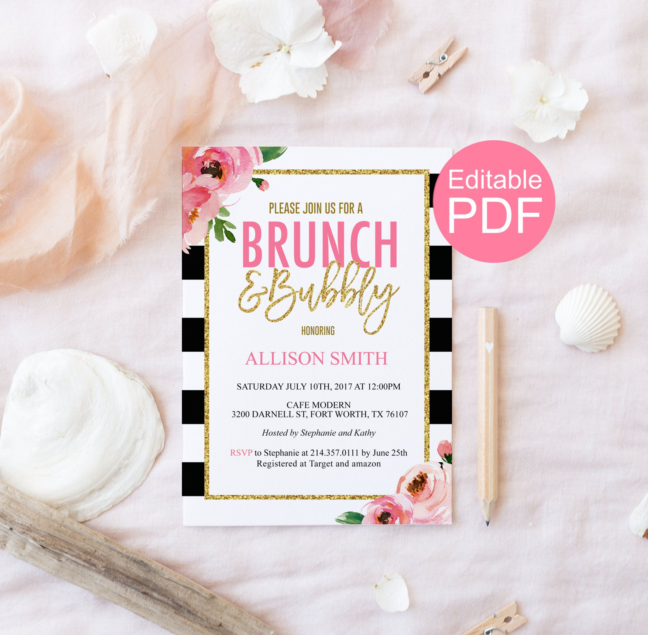 Brunch And Bubbly Invitation Template Kate Bridal Shower Etsy Bridal Brunch Invitations Invitation Template Etsy Bridal Shower