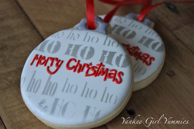 Christmas Ornament Cookies~             Brr Yankee Girl Yummies, white, red