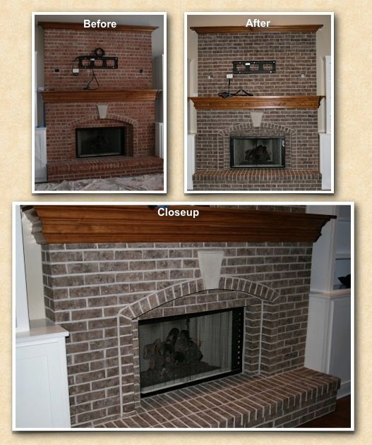 This Fireplace Brick Was Transformed To Shades Of Mocha And The Mortar Was Lightened In Order To Match The Theme And E Exterior Brick Fireplace Brick Fireplace
